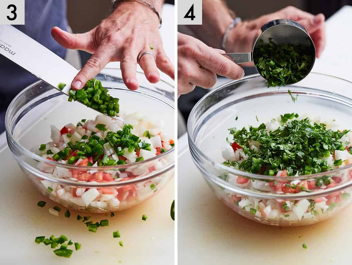 Set of two photos showing jalapeno and cilantro added to a bowl.