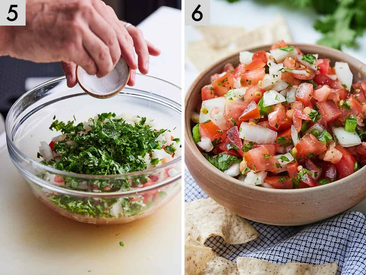 Set of two photos showing salt added to a bowl of salsa and then pico de gallo in a serving bowl.