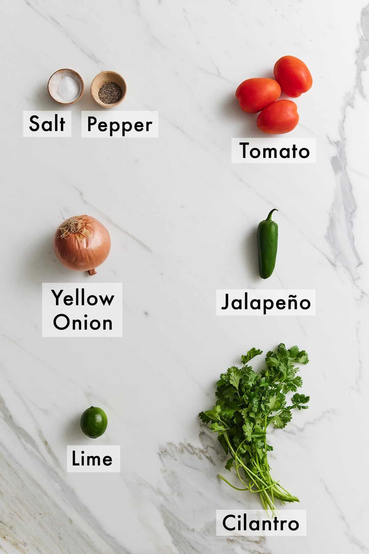 Ingredients needed for pico de gallo.