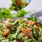 Pinterest graphics of a fork lifting up a bite of tabbouleh.