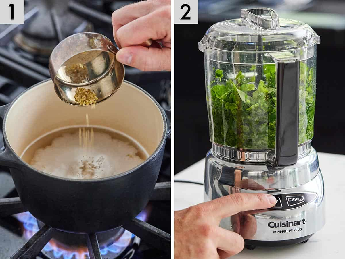 Set of two photos showing bulgur being added to a pot and parsley chopped in a food processor.