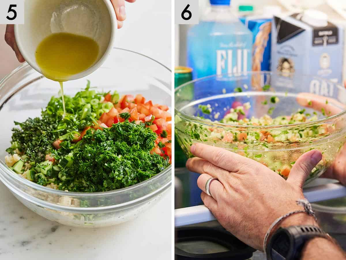 Set of two photos showing dressing added to the tabbouleh and then transferred to the fridge.
