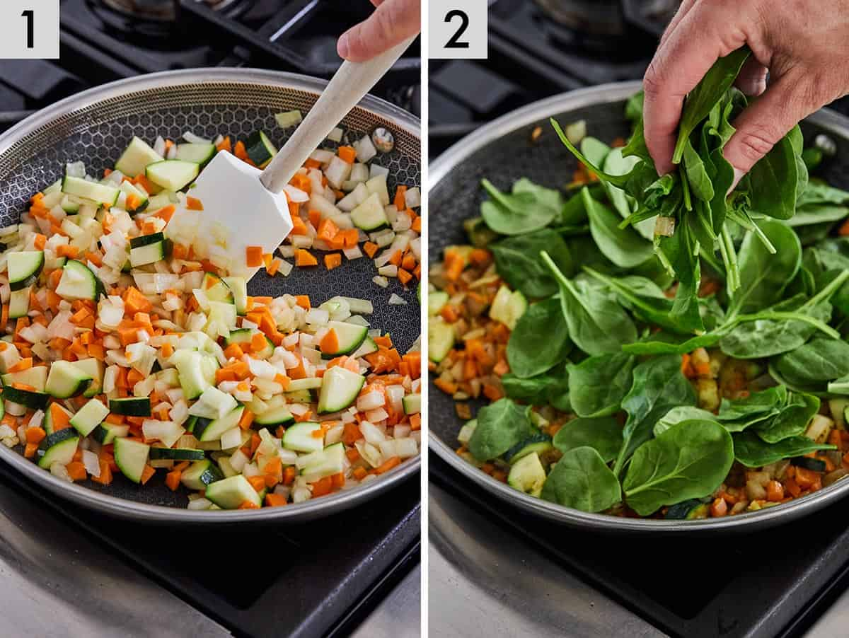 Set of two photos showing carrots, zucchini, onion being cooked in a pan and spinach added after.