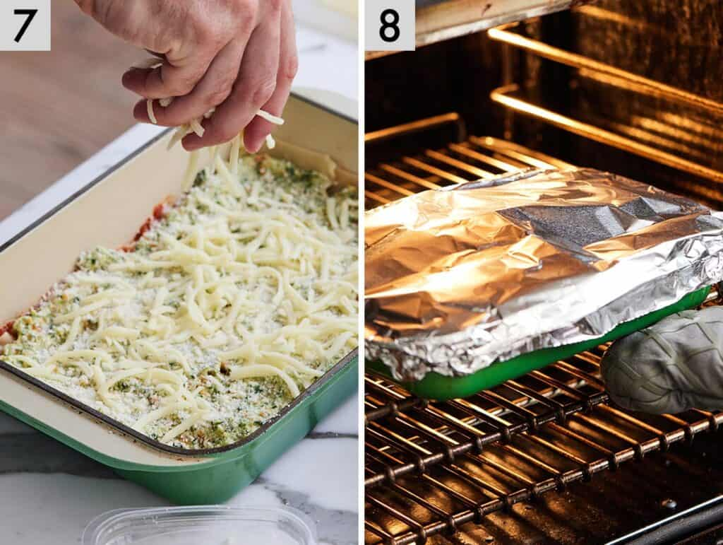 Set of two photos showing shredded cheese added to a casserole dish and then covered in foil before baking.