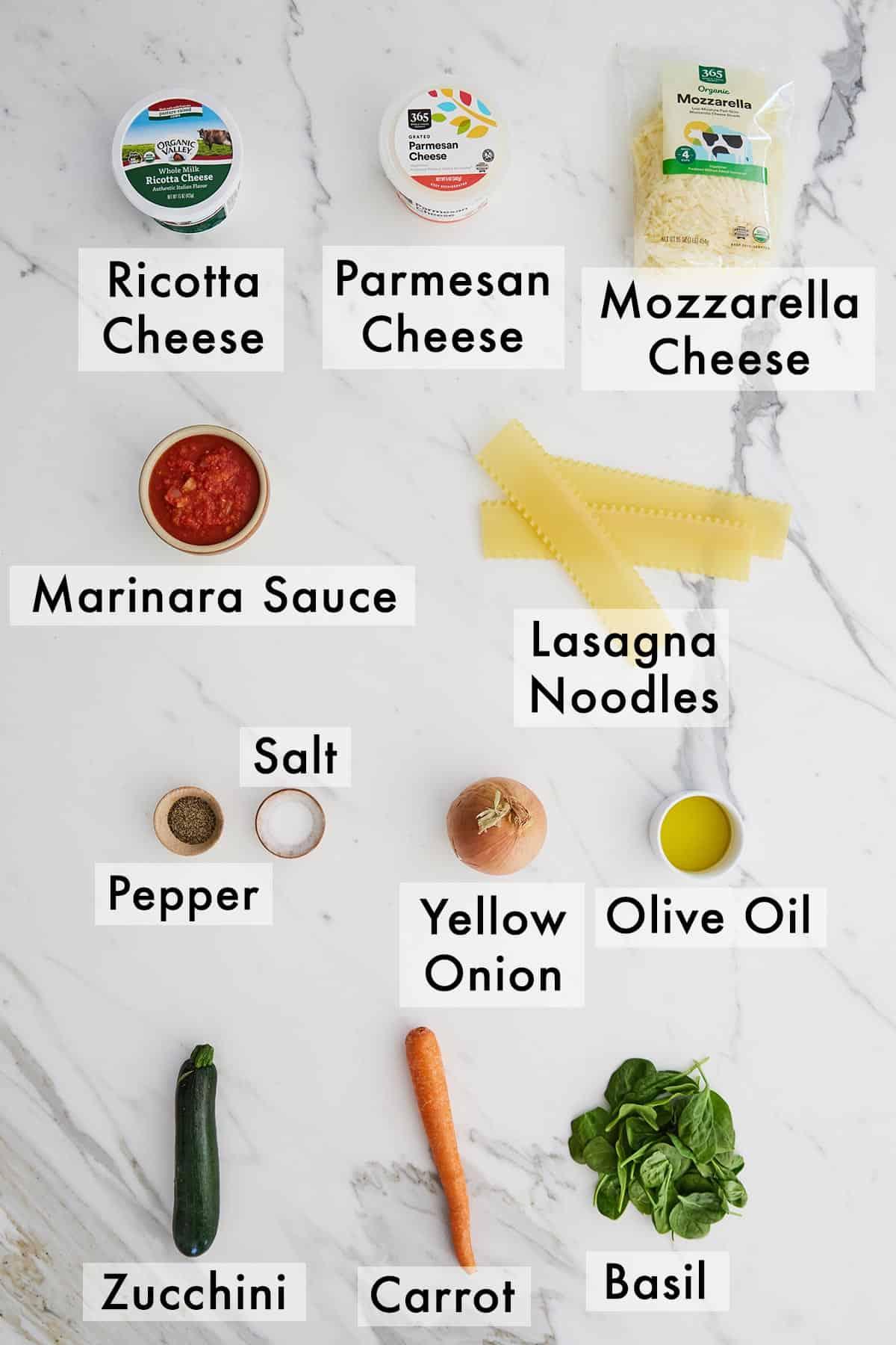 Ingredients needed to make vegetarian lasagna.