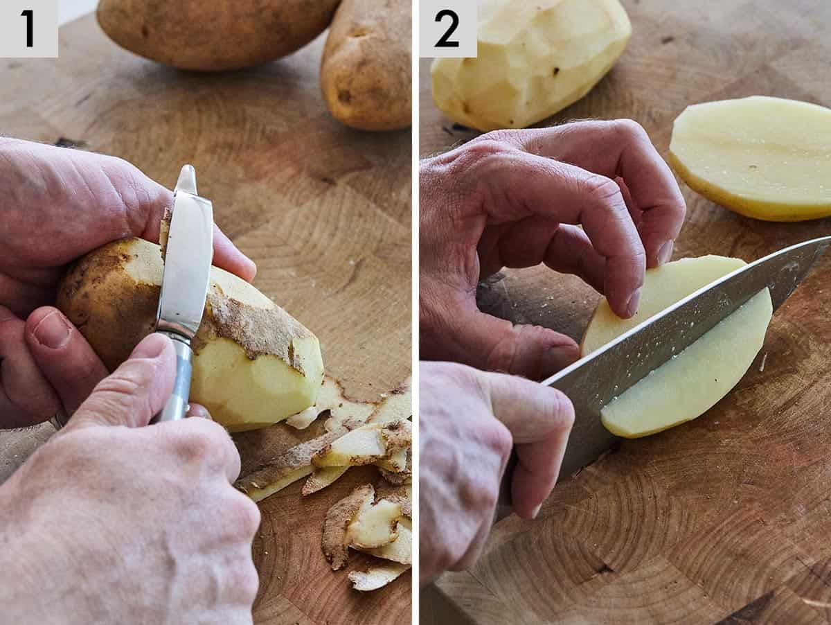 Set of two photos showing a potato being peeled and cut.