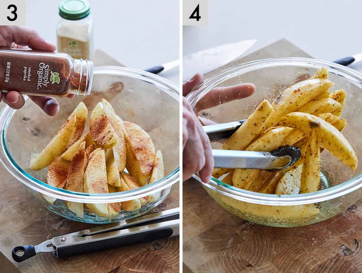 Set of two photos showing seasoning added to potato wedges and then tossed to coat.