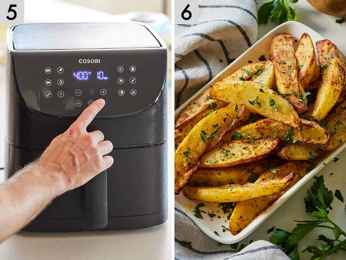 Set of two photos showing the air fryer being set and then a bowl of air fryer potato wedges.