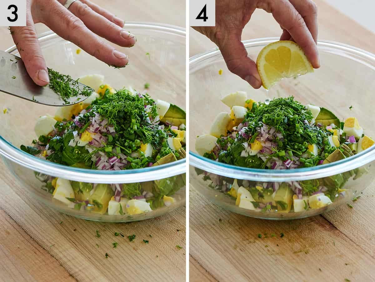 Set of two photos showing herbs added to a bowl and then a lemon wedge squeezed over top.
