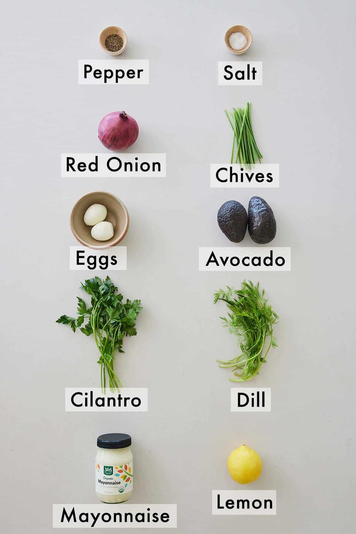 Ingredients needed to make avocado egg salad.
