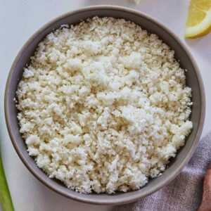 Overhead view of a bowl of cauliflower rice.