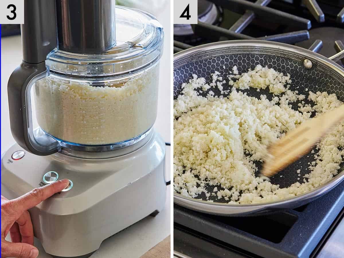 Set of two photos showing cauliflower being pulsed in a food processor and added to a pan.