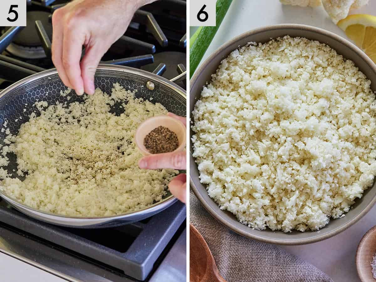 Set of two photos showing cauliflower rice being seasoned and a bowl of cauliflower rice.
