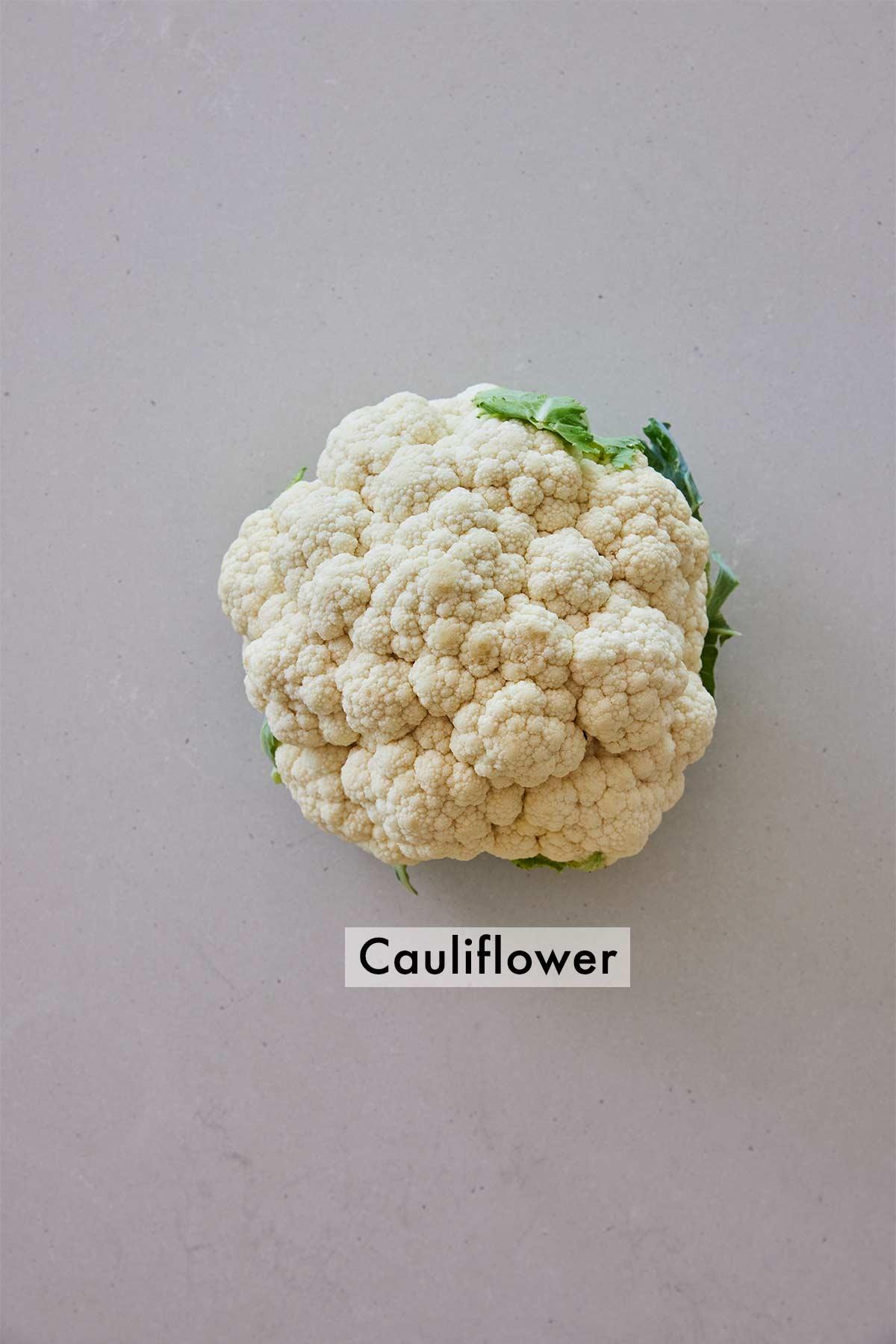 Ingredients needed to make cauliflower rice.