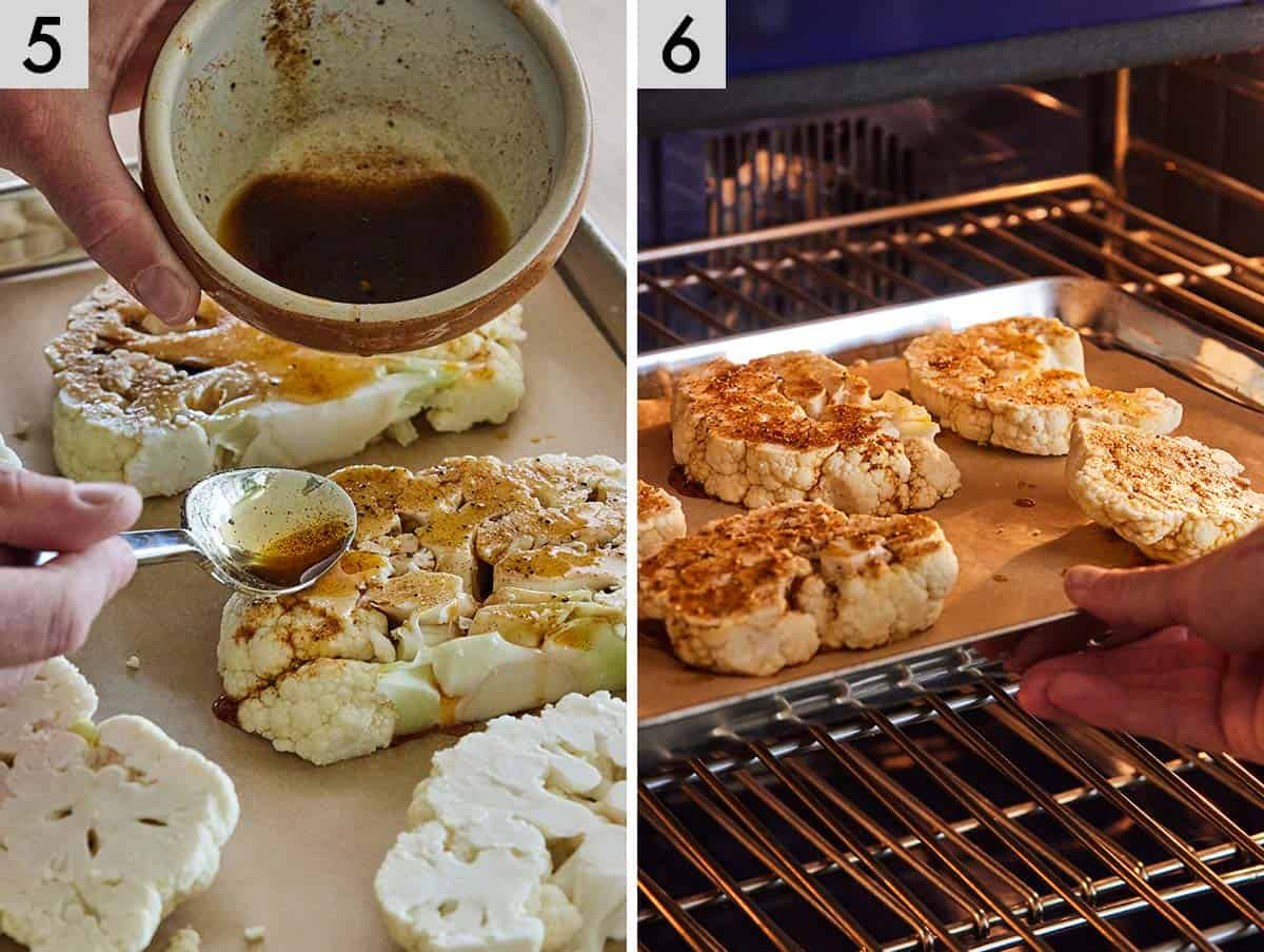 Set of two photos showing seasoning added to the cauliflower steak before baking in the oven.