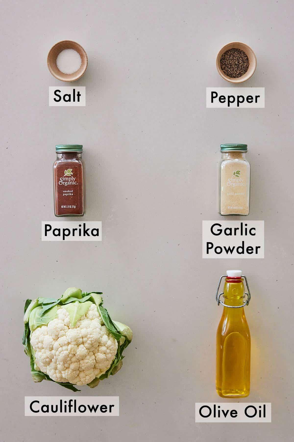 Ingredients needed to make cauliflower steak.