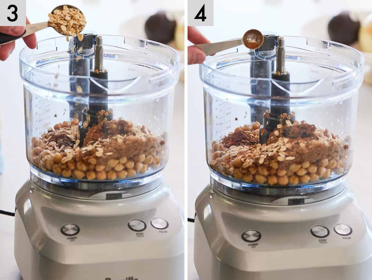 Set of two photos showing oats being added to the food processor and then cinnamon.