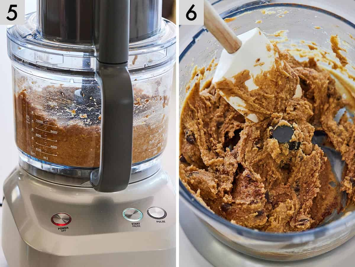 Set of two photos showing ingredients blended in a food processor and then chocolate chips added in.