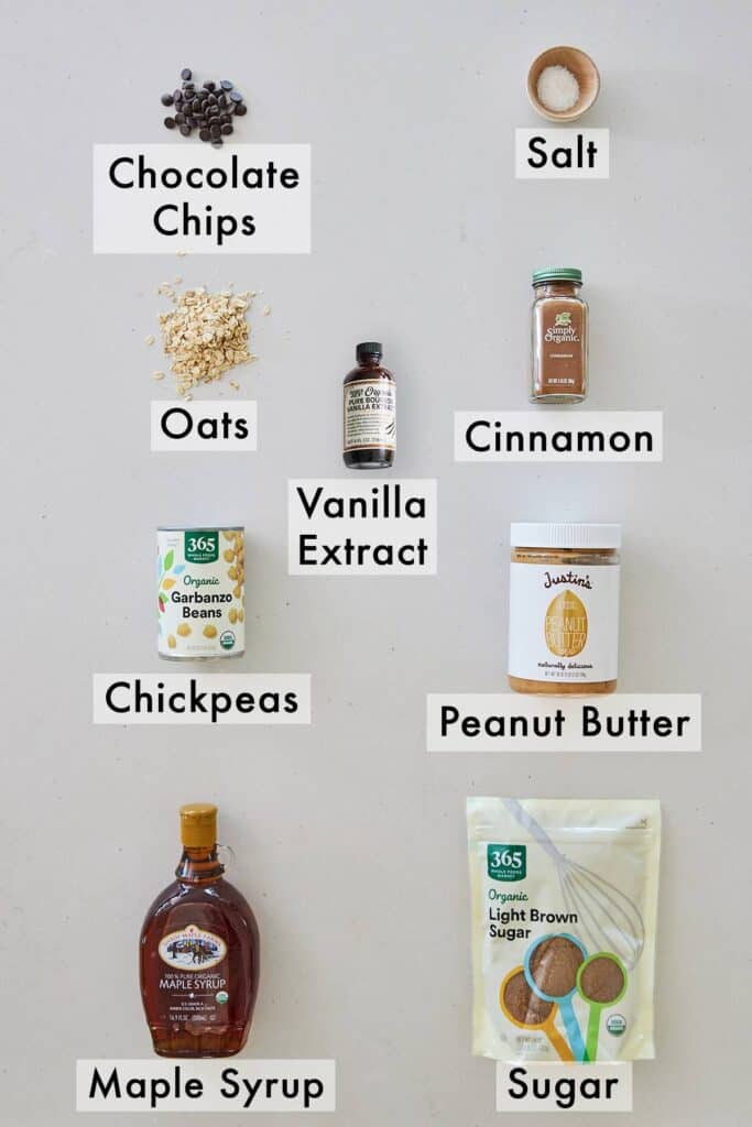 Ingredients needed to make chickpea cookie dough.
