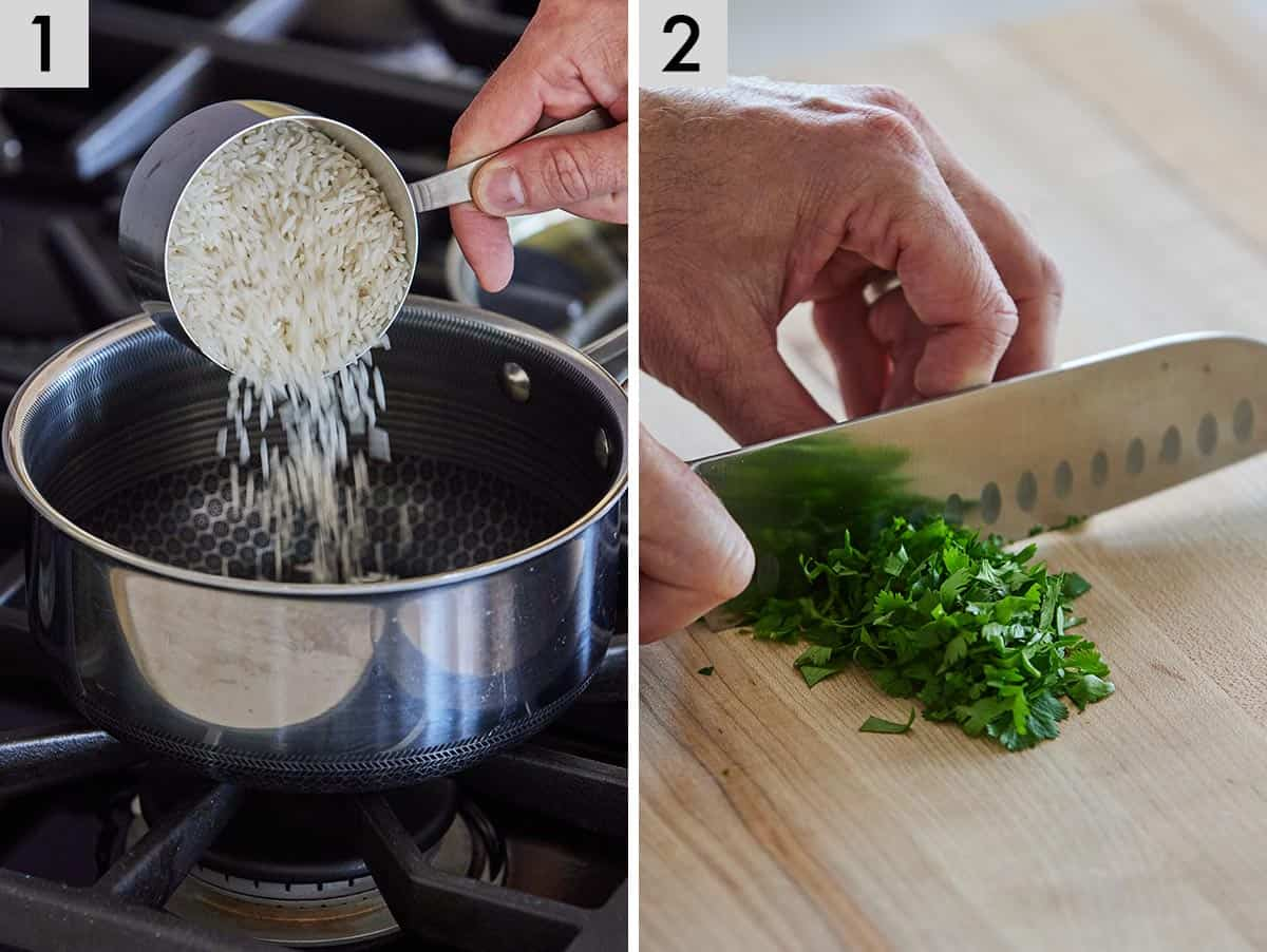 Set of two photos showing rice added to a sauce pot and cilantro being chopped.