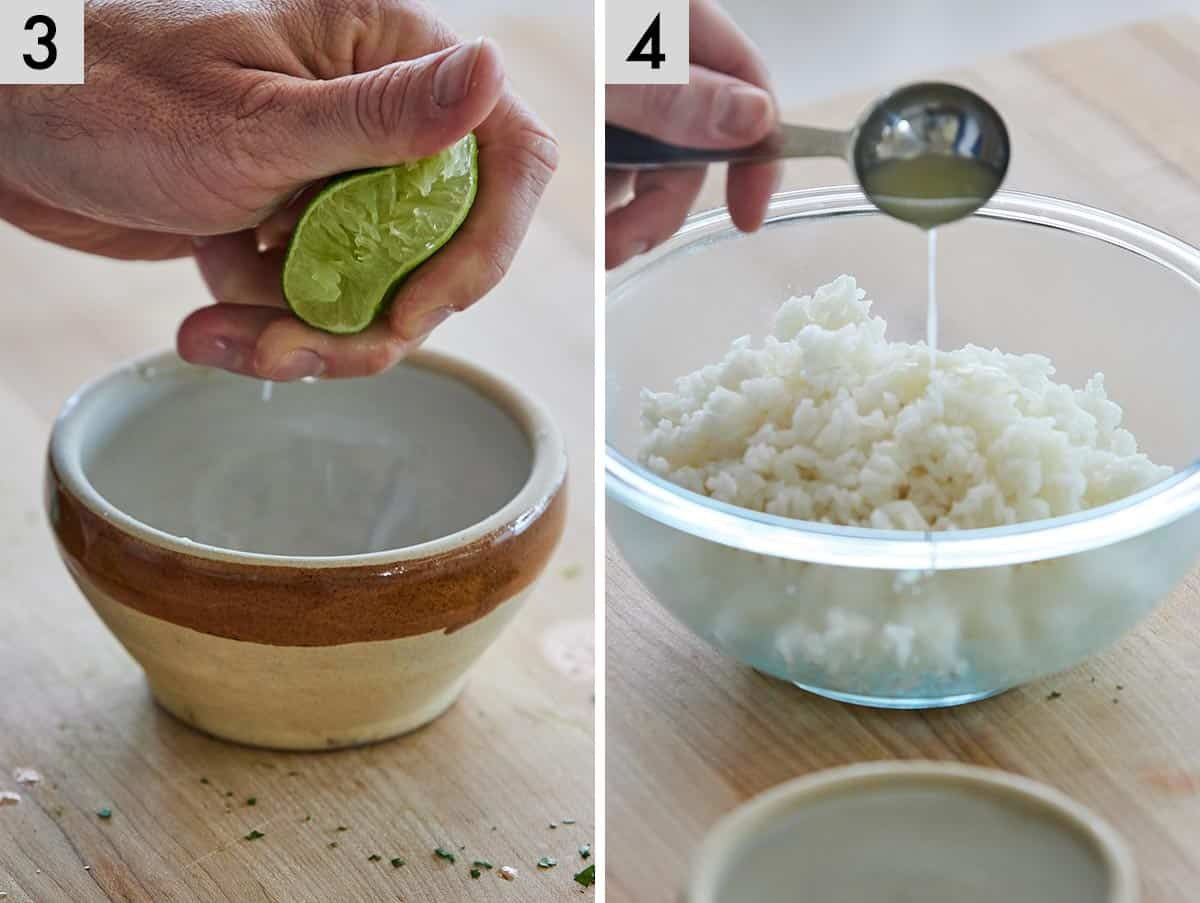Set of two photos showing lime being squeezed and then added to cooked rice.