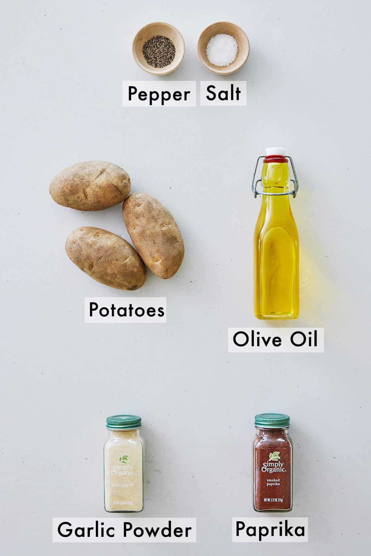 Ingredients needed to make air fryer potato wedges.