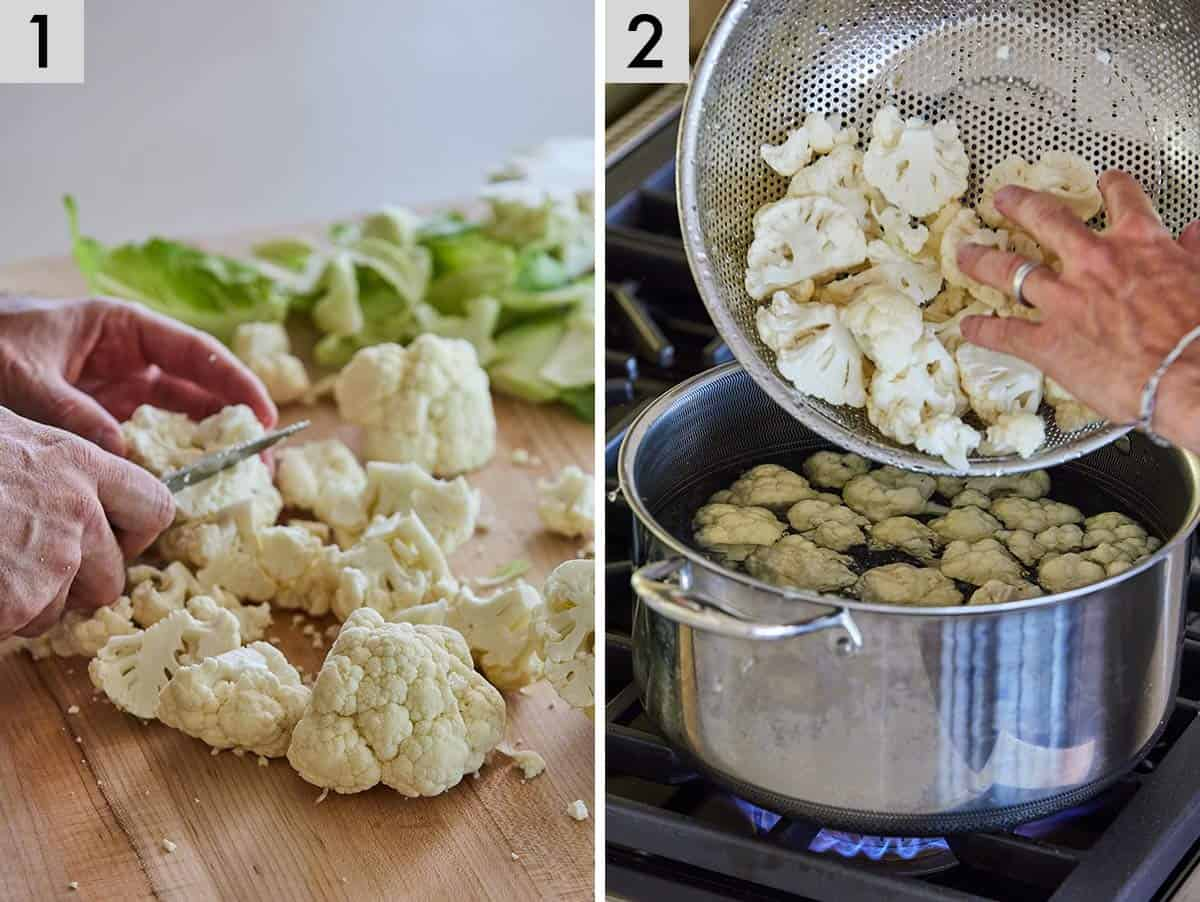 Set of two photos showing cauliflower being cut and added to a pot.
