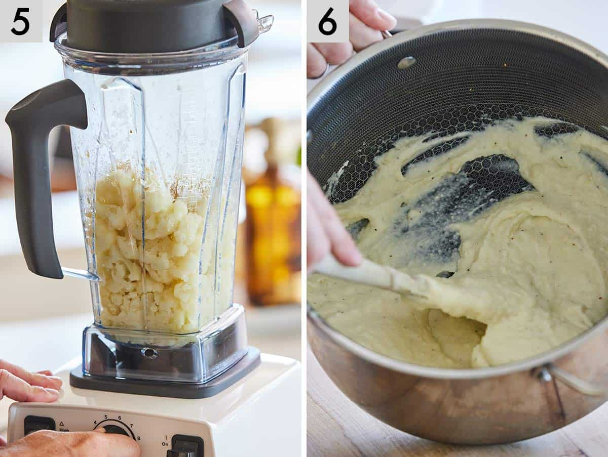 Set of two photos showing garlic being blended and then mixed in the pot with the garlic.