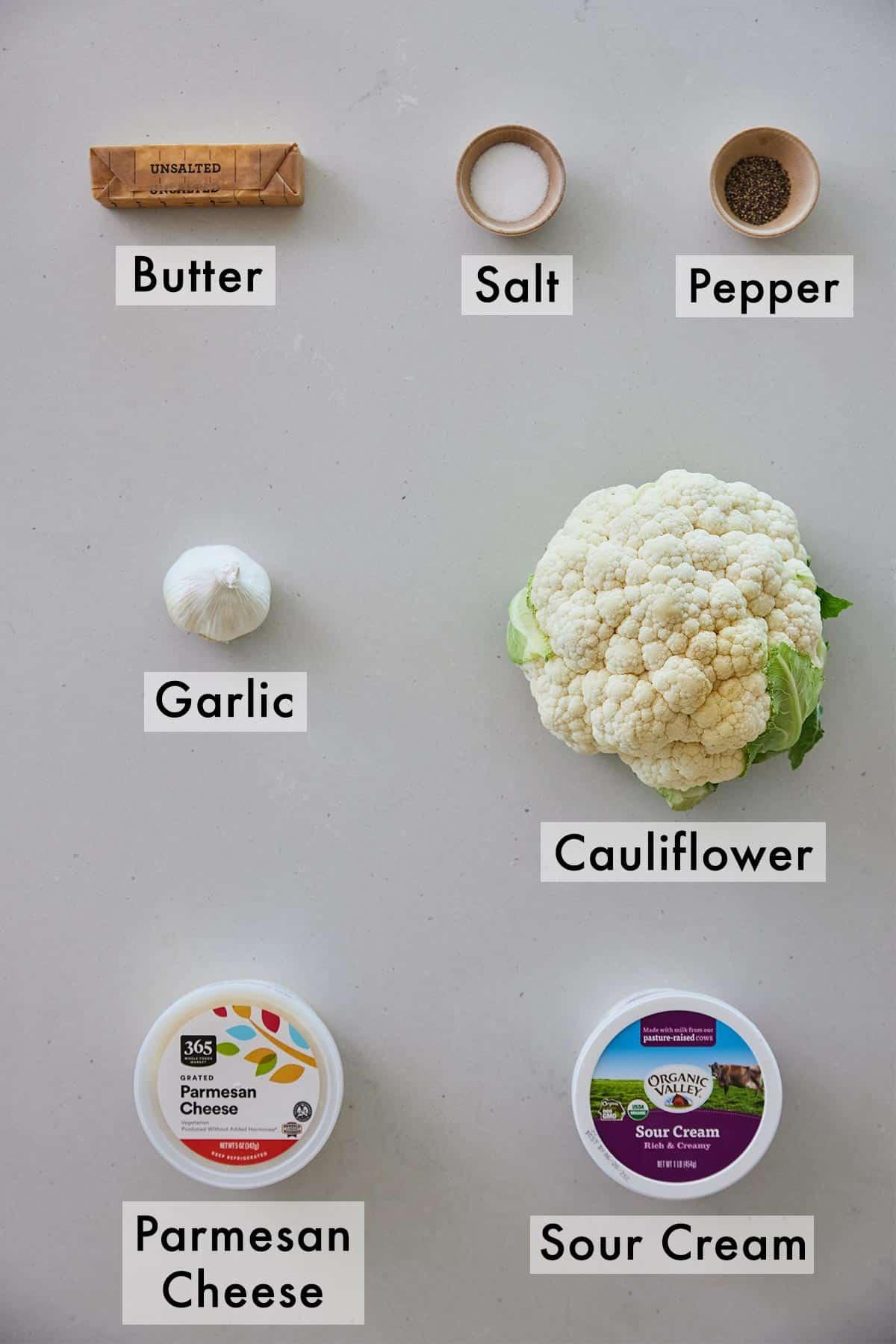 Ingredients needed to make mashed cauliflower.