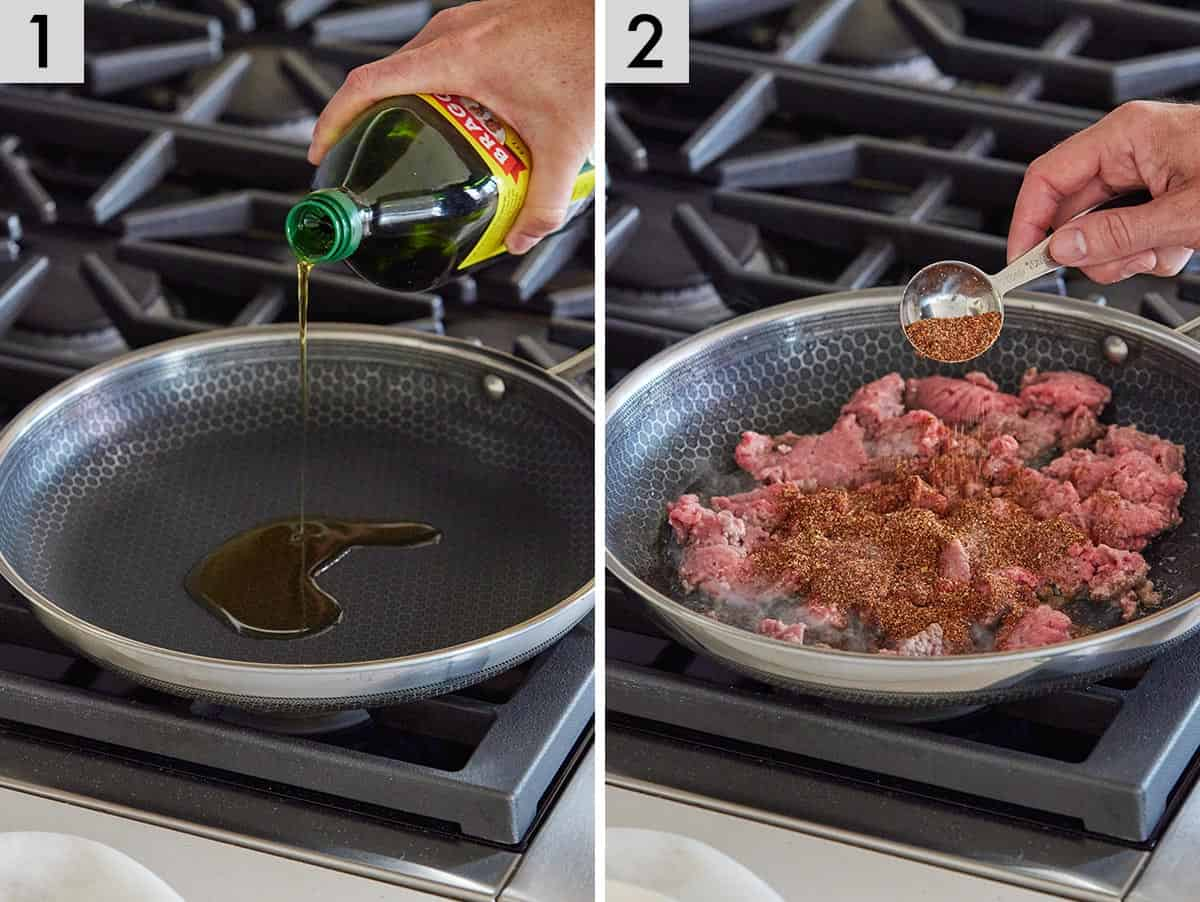 Set of two photos showing oil added to the pan and the seasoning added to beef in the pan.