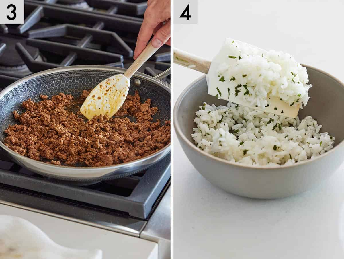 Set of two photos showing ground beef cooking in a pan and a bowl of cilantro lime rice being stirred.