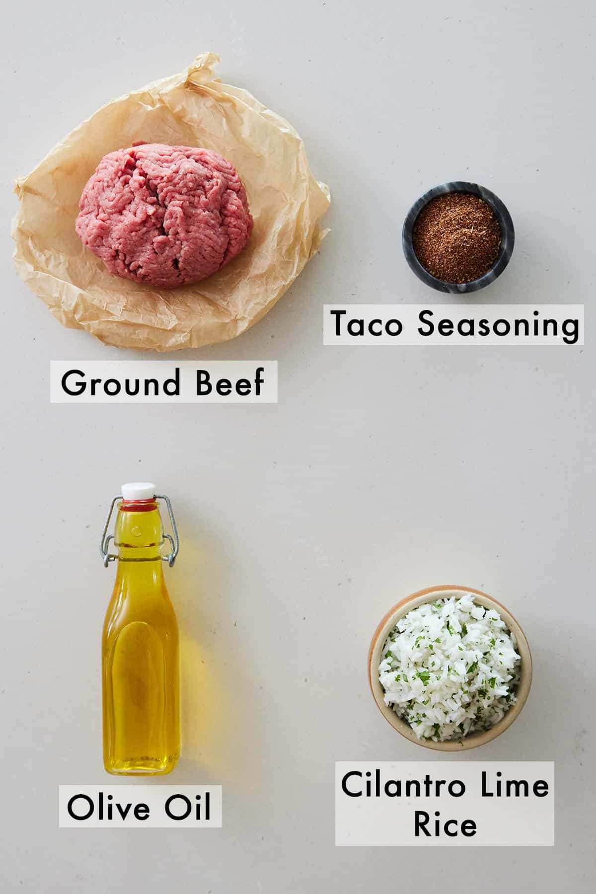 Ingredients needed to make a taco bowl.