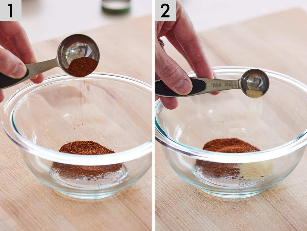 Set of two photos showing chili powder and garlic powder added to a bowl.