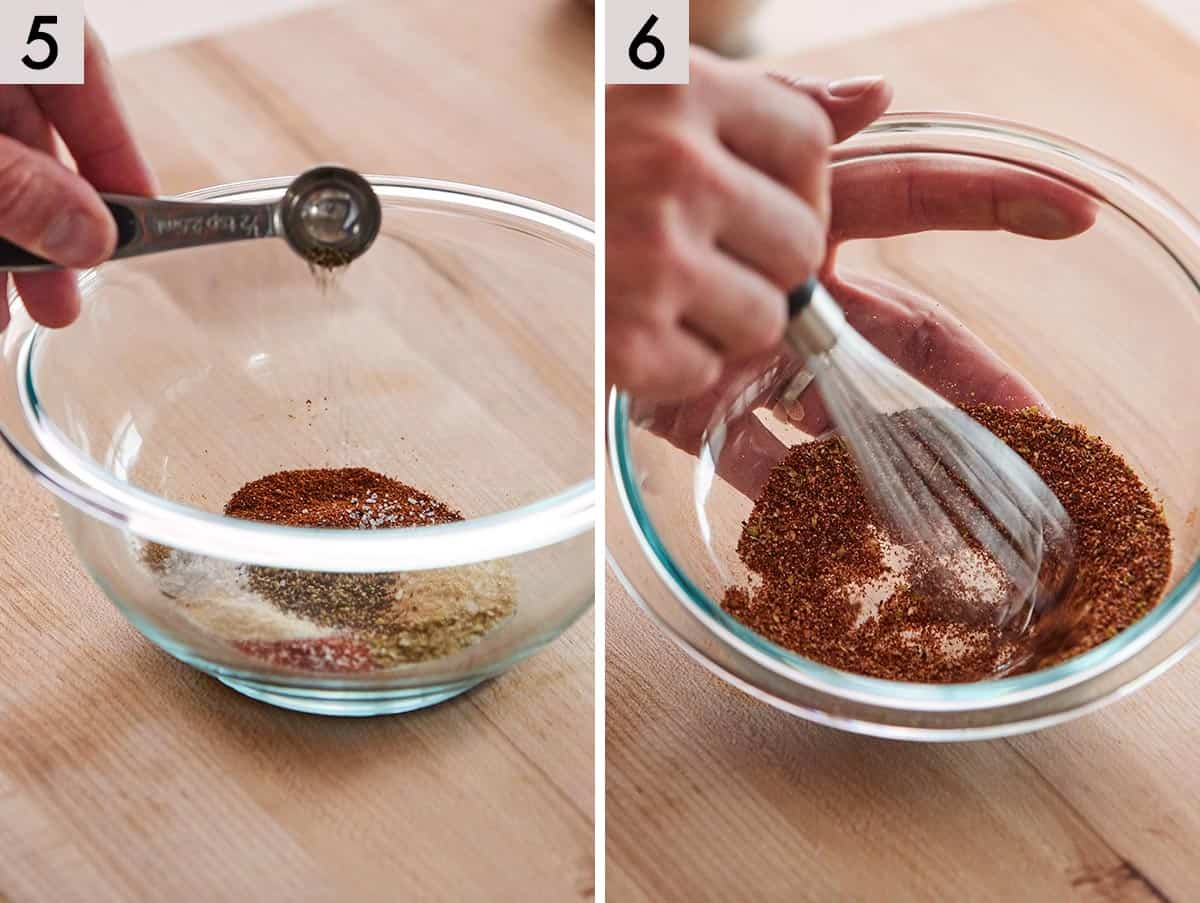 Set of two showing pepper added to a bowl and the seasoning mixed together.