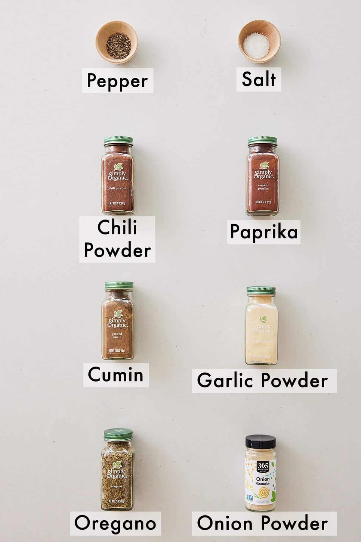 Ingredients needed to make taco seasoning.