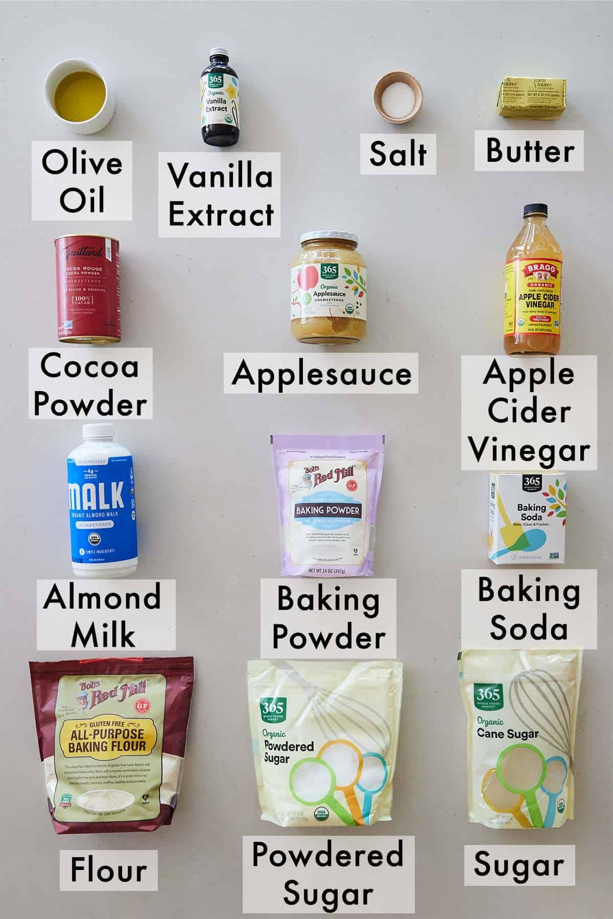 Ingredients needed to make a vegan chocolate cake.