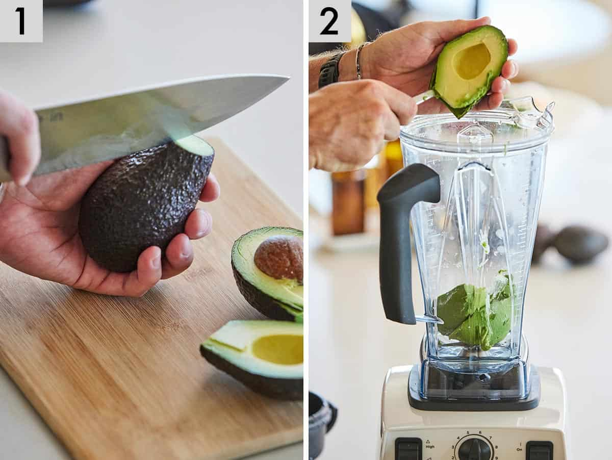 Set of two photos showing an avocado being cut and then added to a blender.