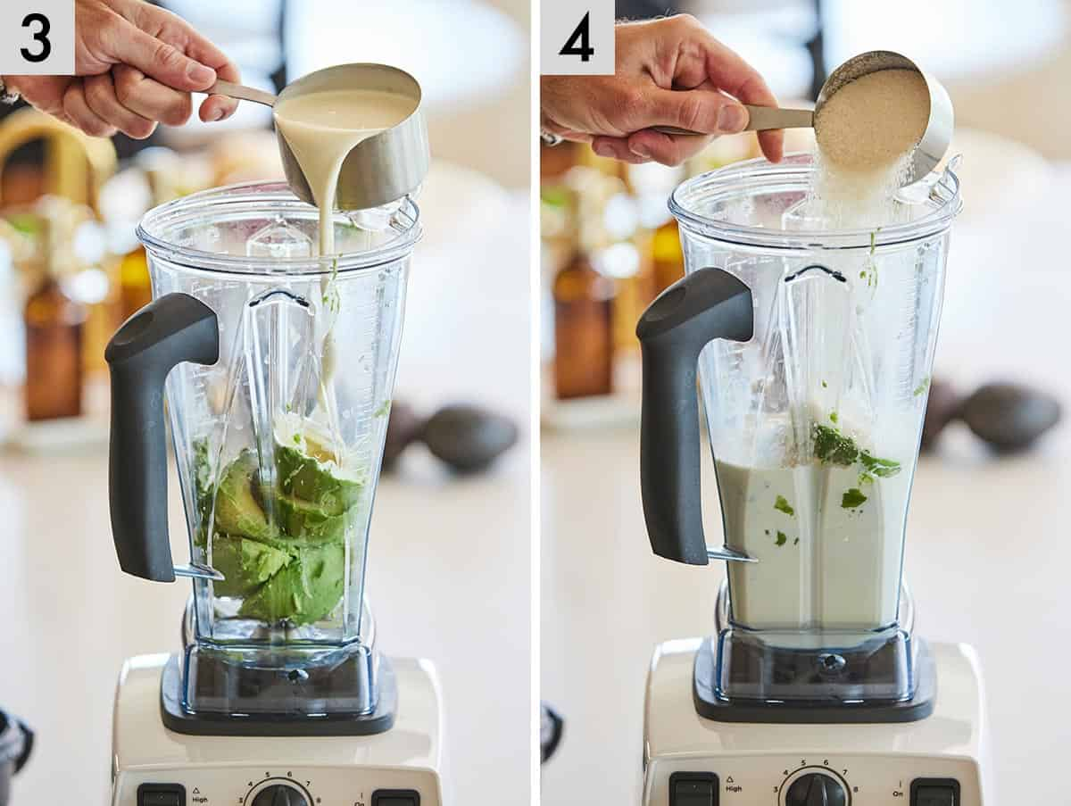Set of two photos showing heavy cream added to a blender then sugar.