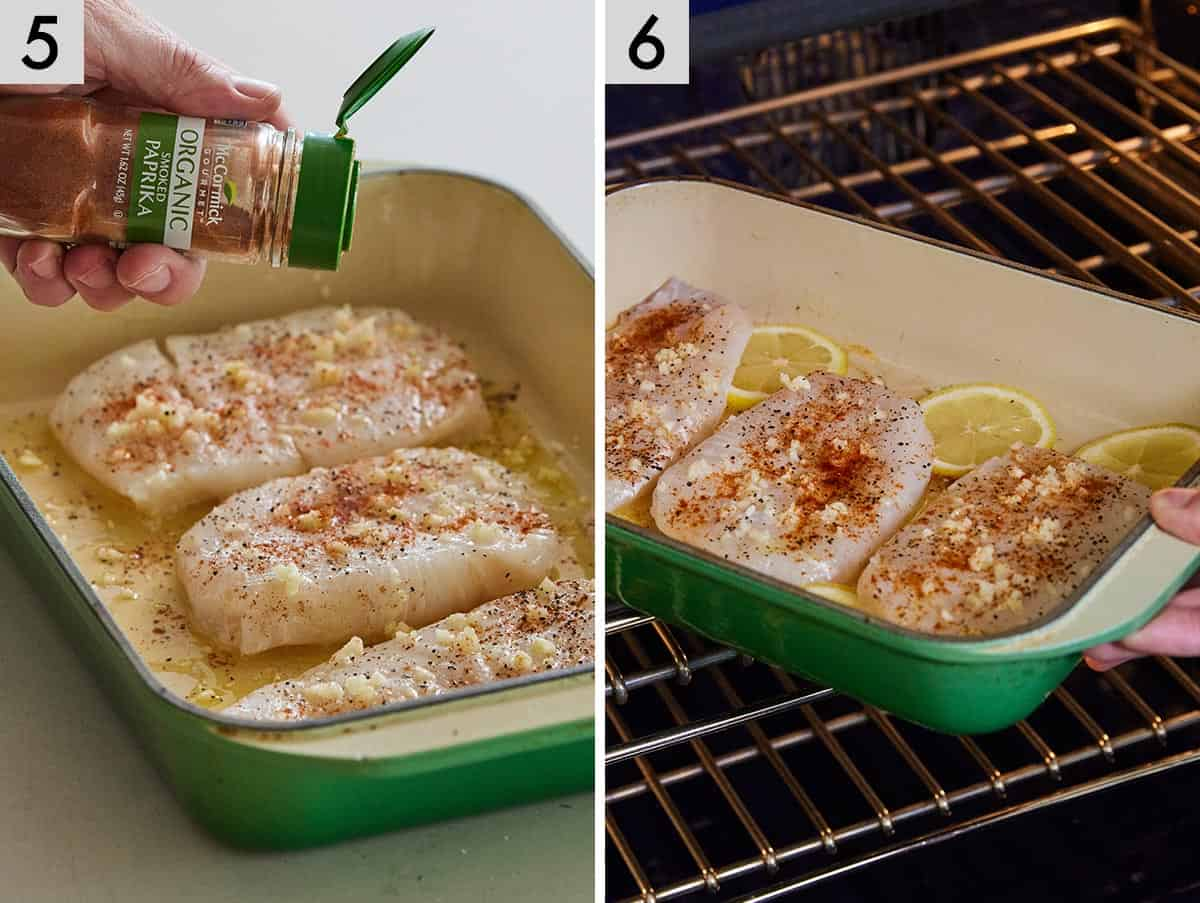 Set of two photos showing paprika added to a baking dish with cod and then transferred to the oven.