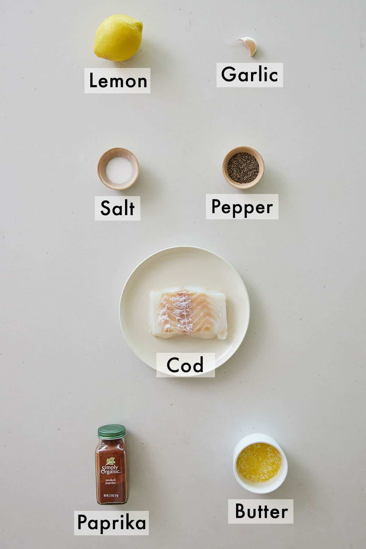Ingredients needed to make baked cod.