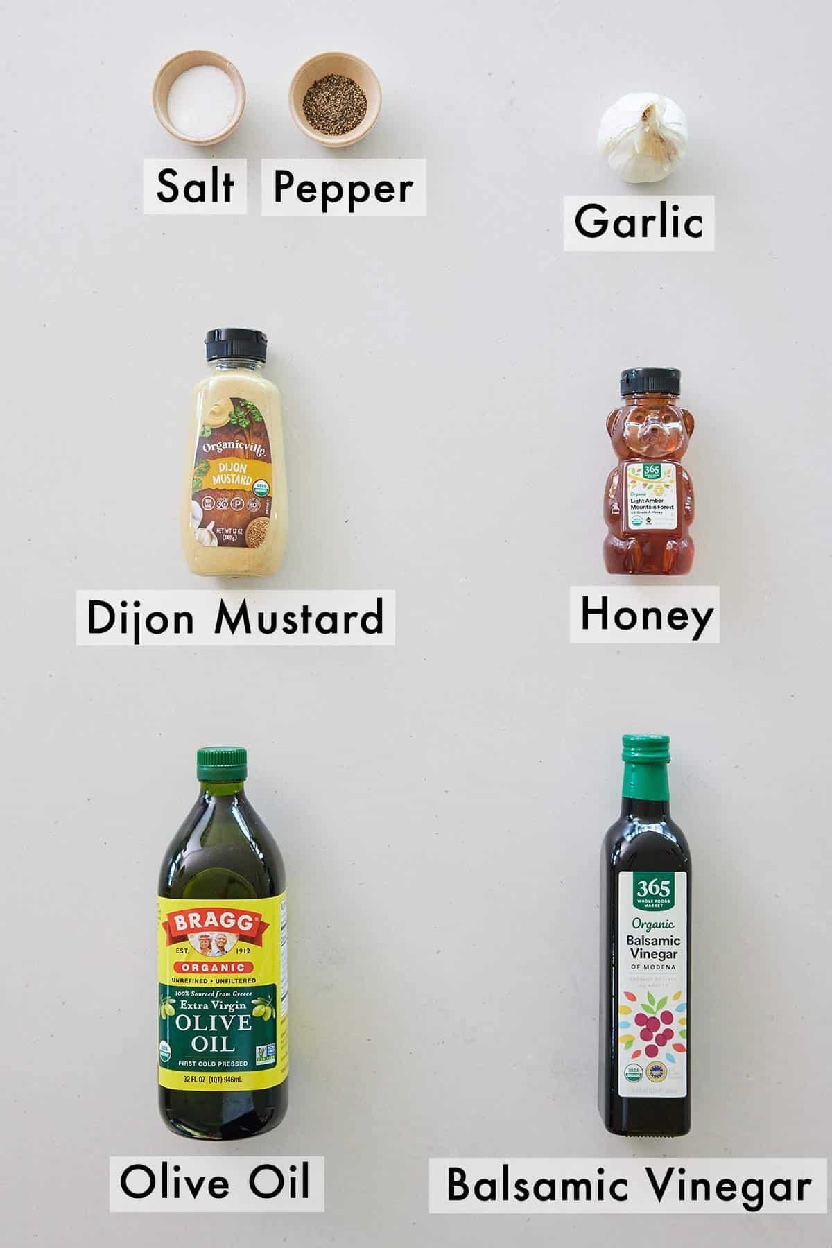 Ingredients needed to make balsamic vinaigrette.