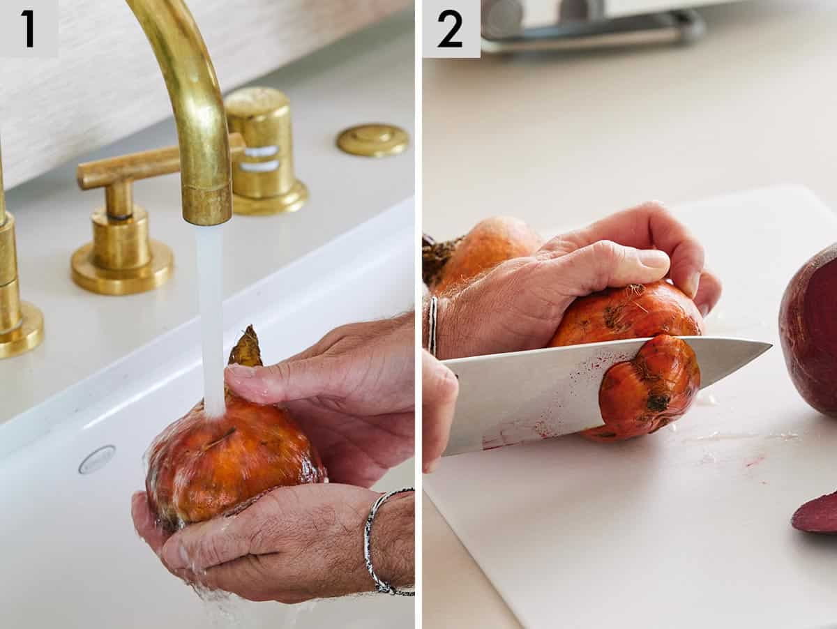 Set of two photos showing beets being washed and then tops cut off.
