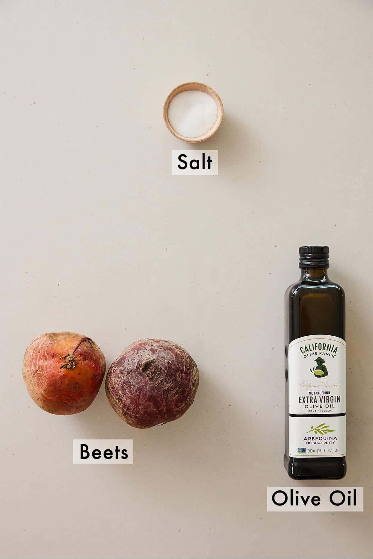 Ingredients needed to make beet chips.