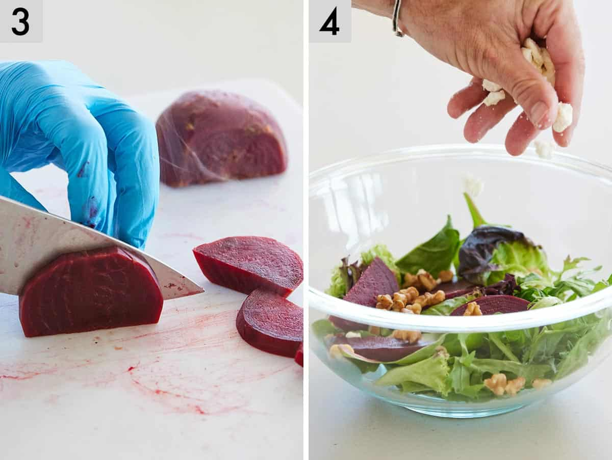Set of two photos showing beets being sliced and ingredients for a salad added to a bowl.