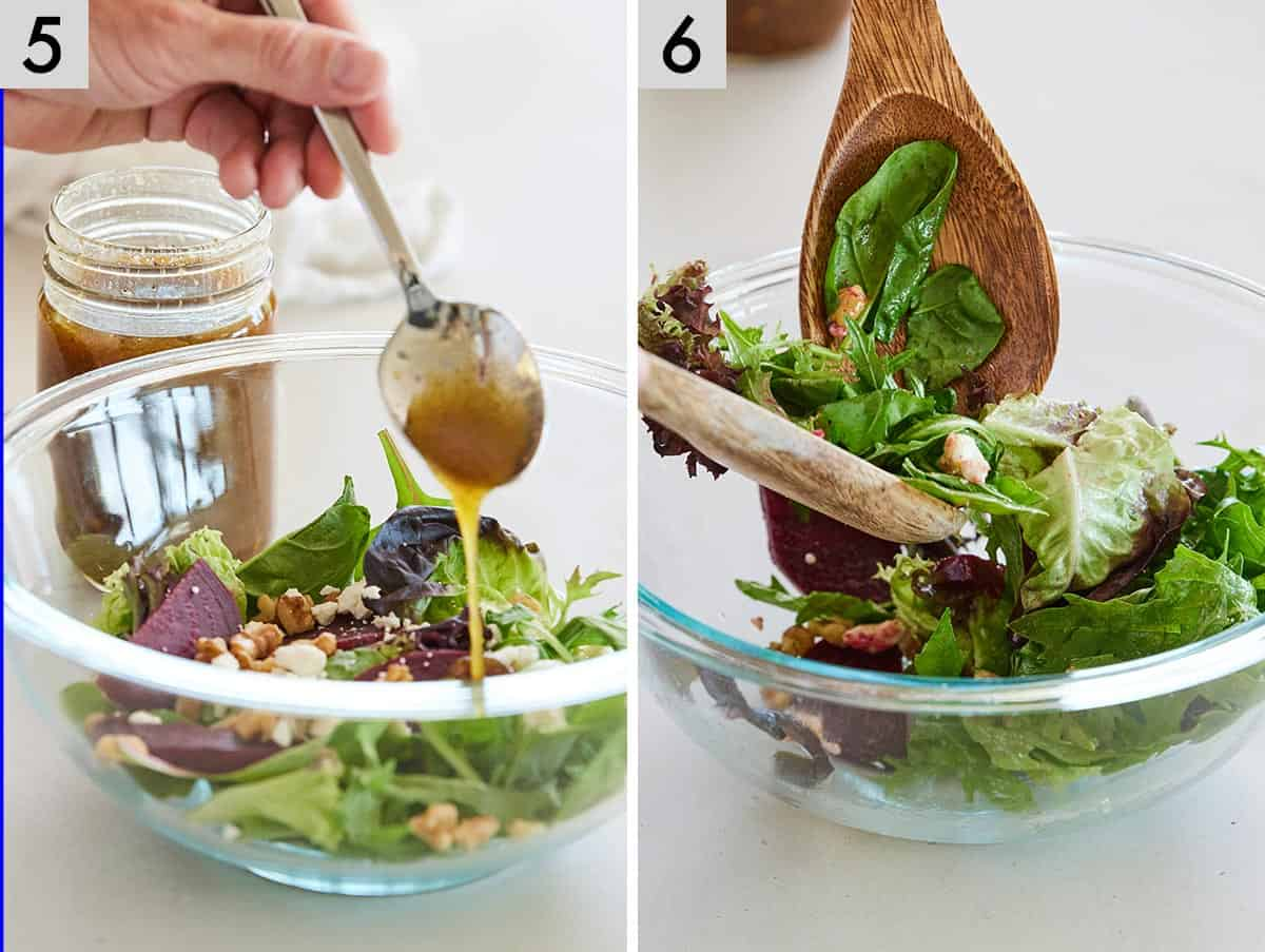 Set of two photos showing dressing added to a salad and then tossed together.