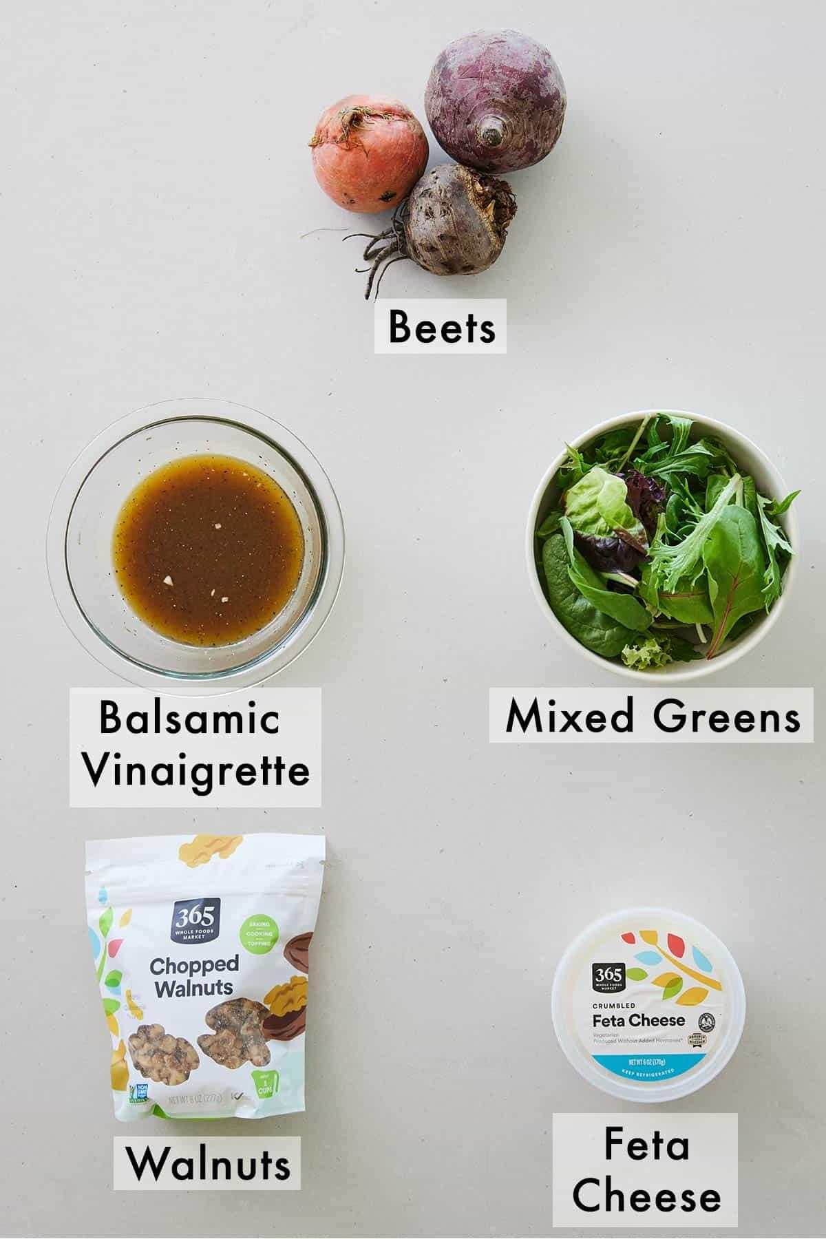 Ingredients needed to make a beet salad.