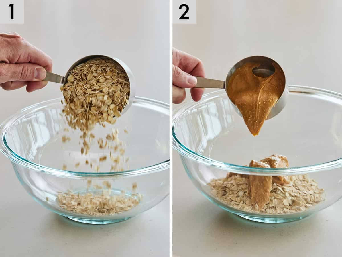 Set of two photos showing oats added to a bowl, then peanut butter added to the same bowl.