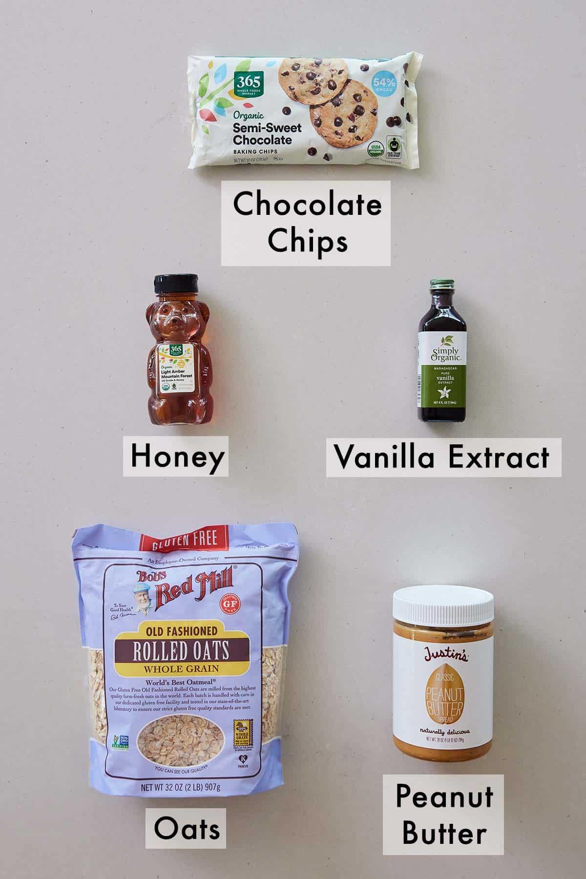 Ingredients needed to make energy balls.