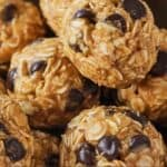 Pinterest graphic of energy balls with one on top.