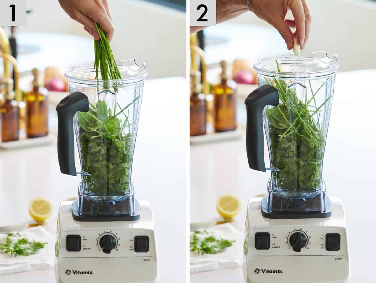 Set of two photos showing fresh herbs added to a blender and then garlic cloves.